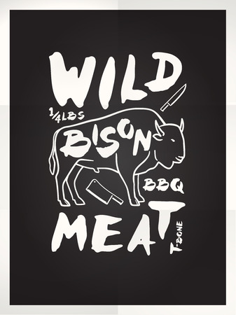 Wild bison meat hand drawn typography blackboard poster