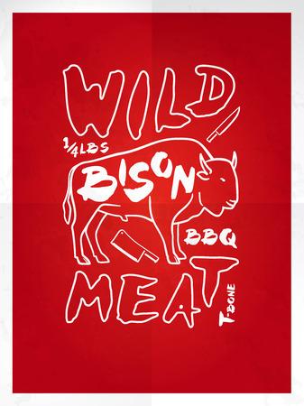 t bone steak: Wild bison meat hand drawn typography red poster