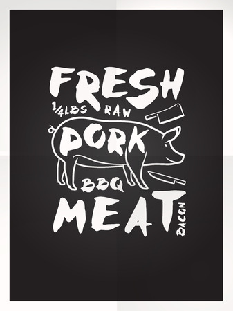 pork meat: Fresh pork meat hand drawn typography BLACK poster