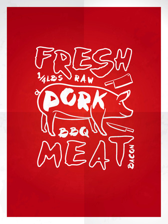 pork meat: Fresh pork meat hand drawn typography red poster