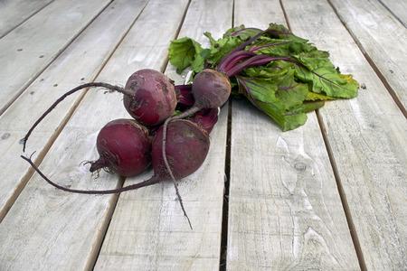 betabel: Manojo fresco de remolachas granja en la tabla de país de madera blanca