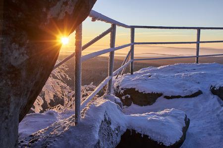 sudetes: Winter sunrise in snowy mountains. Sudetes, Poland, Europe. Amazing world.