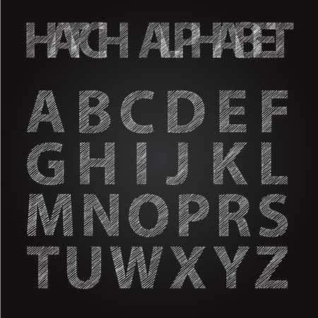 stripped: Hatch hand stripped font alphabet on black board Illustration