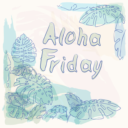 philodendron: Aloha Friday Summer jungle palm leaves illustration drawing in pastel colours