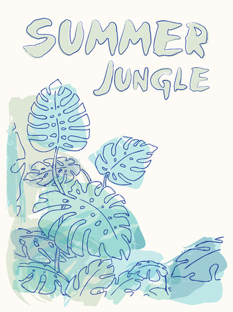 philodendron: Summer jungle palm leaves illustration drawing in pastel colours