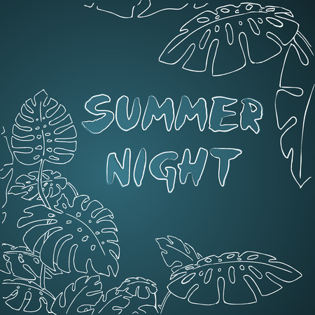 philodendron: Summer night jungle palm leaves drawing illustration Illustration
