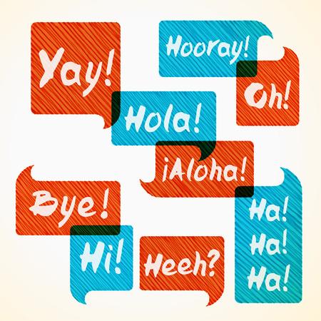 phrases: Dibujado a mano de naranja rayada y la burbuja del discurso azul engastado con frases cortas