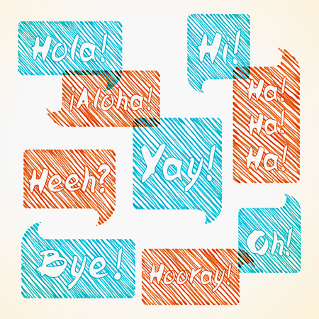 phrases: Hand drawn hatched orange and blue speech bubble set with short phrases