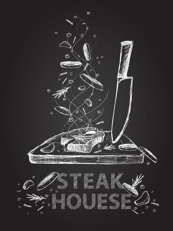 손으로 그린 스테이크 하우스는 검은 칠판에 그림을 인용