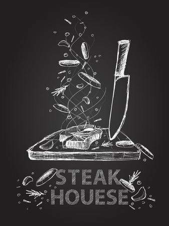 beef meat: Hand drawn steak house quotes illustration on black chalkboard Illustration