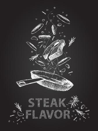 手が黒い黒板にステーキ味引用図を描画  イラスト・ベクター素材