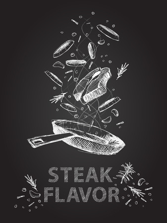 pork meat: Hand drawn steak flavor quotes illustration on black chalkboard