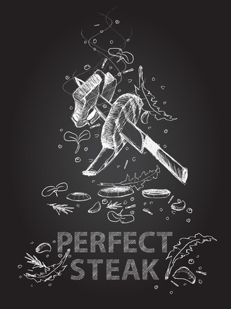 Hand drawn perfect steak quotes illustration on black chalkboard Vettoriali
