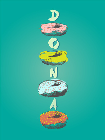 pastel colour: Illustration of donuts in spanish language in various taste and glaze in pastel colour, poster design