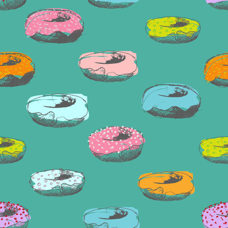 turquiose: Hand drawn donut seamless pattern pastel colours on turquiose background