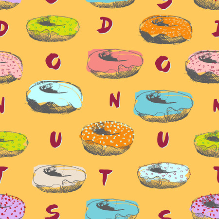 drowned: Hand drowned donuts seamless pattern with text pastel colours on yellow background
