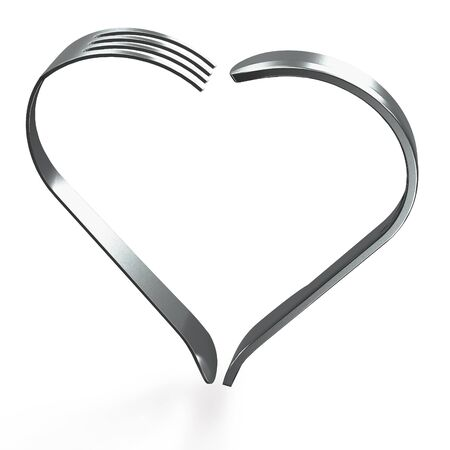 fork in path: Stainless steel fork and knife in heart shape on white background  clipping path