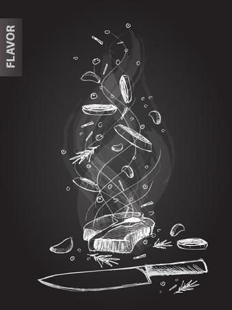 carne cruda: Dibujado a mano ilustración sabor de carne en el pizarrón negro