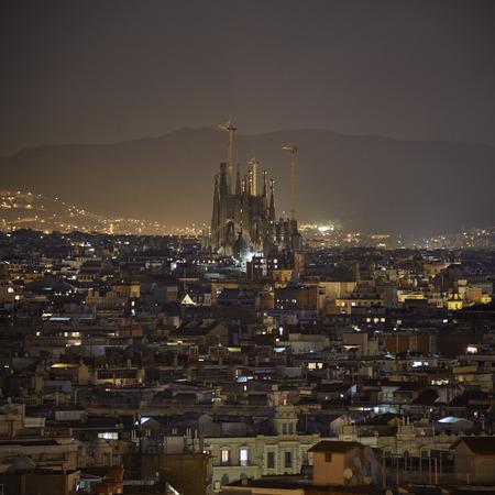 sagrada familia: Barcelona city night view with Sagrada Familia, summer 2015
