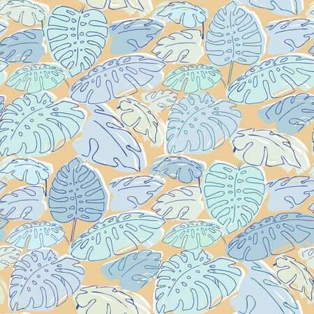 philodendron: Summer jungle palm leaves sameless pattern, drawing illustration in pastel colours blue and orange Illustration