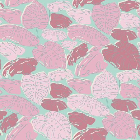 philodendron: Summer jungle palm leaves sameless pattern, drawing illustration in pastel colours pink and green