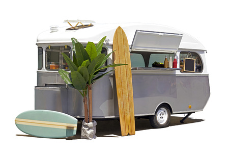Fast food truck caravan isoalted with clipping path