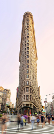 broadway tower: NEW YORK, USA - August 17 : Flat Iron building facade on August 17, 2015. Completed in 1902, it is considered to be one of the first skyscrapers ever built Editorial