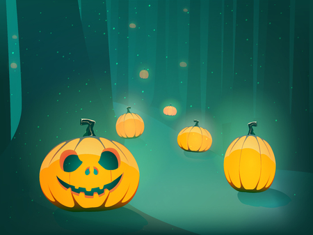 spooky forest: Halloween scary pumpkin jack-o-lantern path in moon light in spooky forest  horizontal illustration Illustration