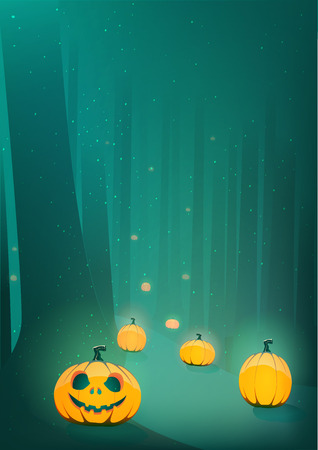 scary forest: Halloween scary pumpkin jack-o-lantern path in moon light in spooky forest  template illustration Illustration
