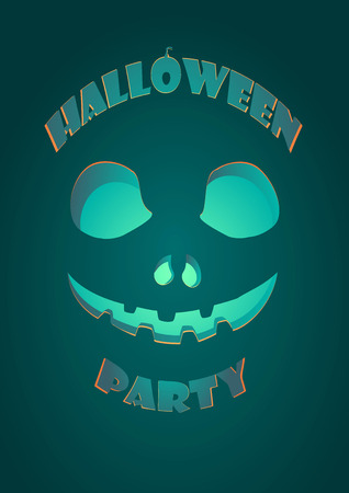 Halloween party carved pumpkin jack-o-lantern smiling on dark gradient background A2 poster template illustration