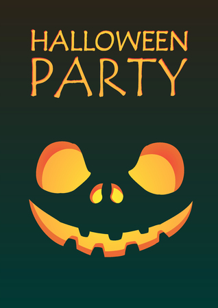 a2: Halloween party carved pumpkin jack-o-lantern smiling on dark gradient background A2 poster template illustration