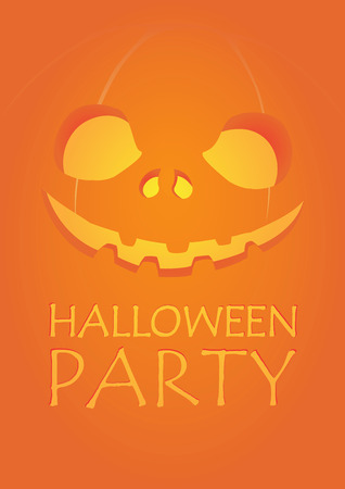 a2: Halloween party carved pumpkin jack-o-lantern smiling on dark fire orange background A2 poster template illustration