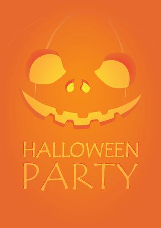 carved pumpkin: Halloween party carved pumpkin jack-o-lantern smiling on dark fire orange background A2 poster template illustration