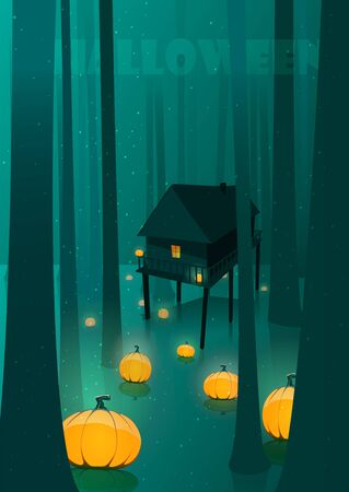horror: Halloween glowing pumpkins in moon light spooky forest  swamp illustration