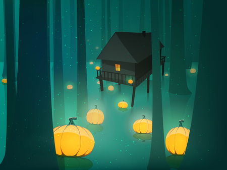spooky forest: Halloween glowing pumpkin in moon light spooky forest  swamp horizontal illustration Illustration