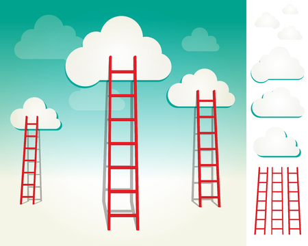 solitary: Red ladders to the clouds, idea competition concept illustration with elements set. Illustration