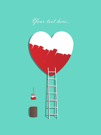 valentine card: Red ladder leading to a heart, painting love illustration on turquoise background, copy space