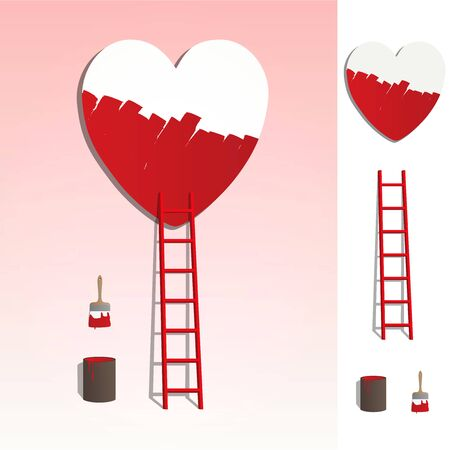 romantic couples: Red ladder leading to a heart, painting love illustration on pink background, with elements set