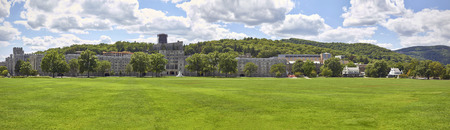ny: The Military Academy at West Point, New York. Parade grounds in front of main building. HQ panorama. Stock Photo