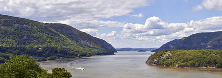 british army: Hudson River at West Point where American Army block British Army by chains booms across the river edge in 1778-1782. Stock Photo