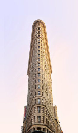 flat iron: NEW YORK, USA - August 17 : Flat Iron building facade on August 17, 2015. Completed in 1902, it is considered to be one of the first skyscrapers ever built Editorial