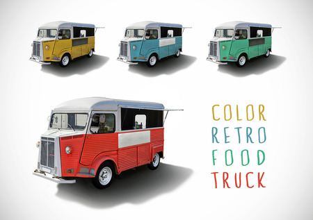 caravan: Set of color retro food trucks with cutting path Stock Photo