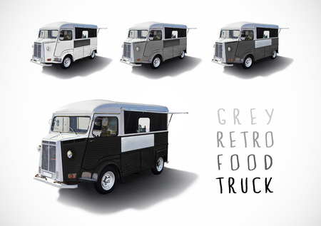 Set of grey scale retro food trucks with cutting path