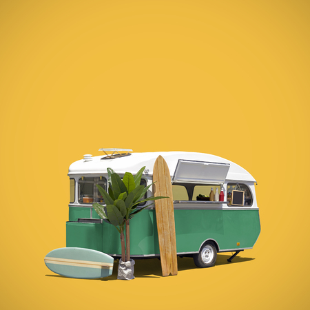 Turquoise fast food truck caravan isoalted with clipping path on yellow background