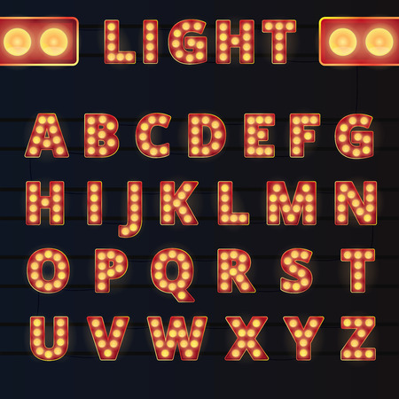 show case: Broadway style light bulb alphabet on rails and dark background.