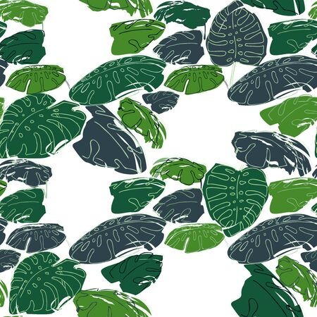 philodendron: Summer jungle palm leaves sameless pattern, drawing illustration in green colours