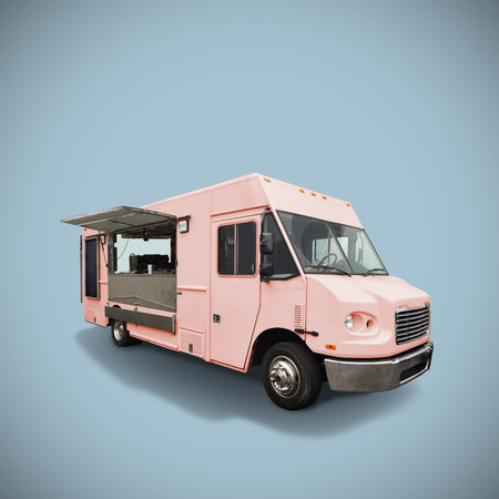 Pink fast food truck on light blue background, template with copy space