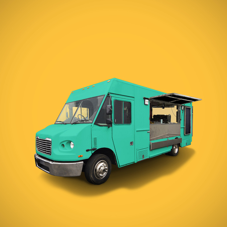 blue fast food truck on warm yellow background, template with copy space,