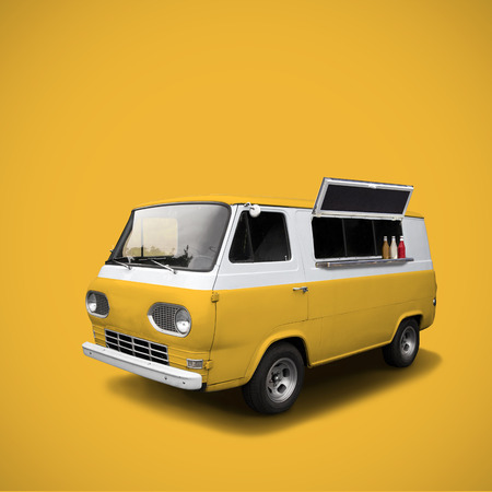 catering food: Yellow retro surfing fast food truck on yellow background, template with copy space Stock Photo