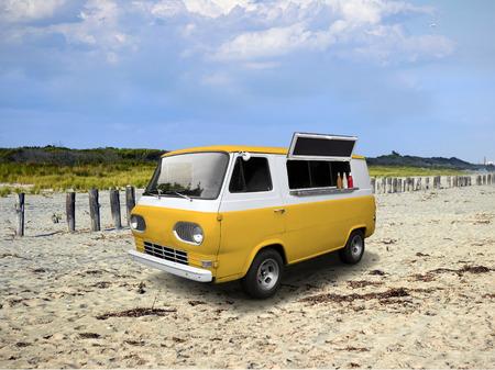 Retro van camion de nourriture jaune sur la plage journée ensoleillée